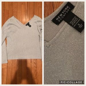 New York and company silver sparkle shirt